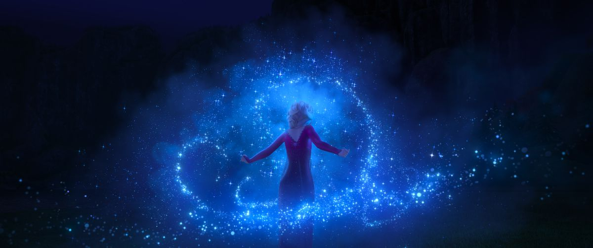 Elsa shows off her super amazing ice power