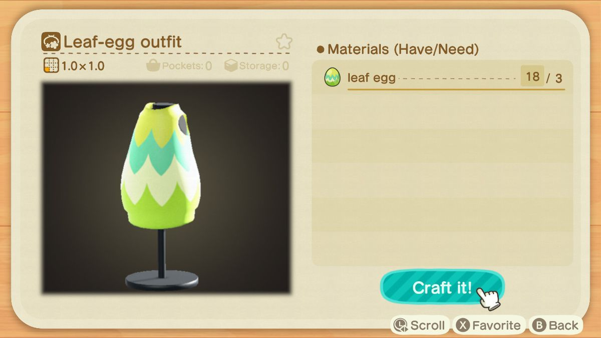 A crafting screen in Animal Crossing showing how to make a Leaf-Egg Outfit