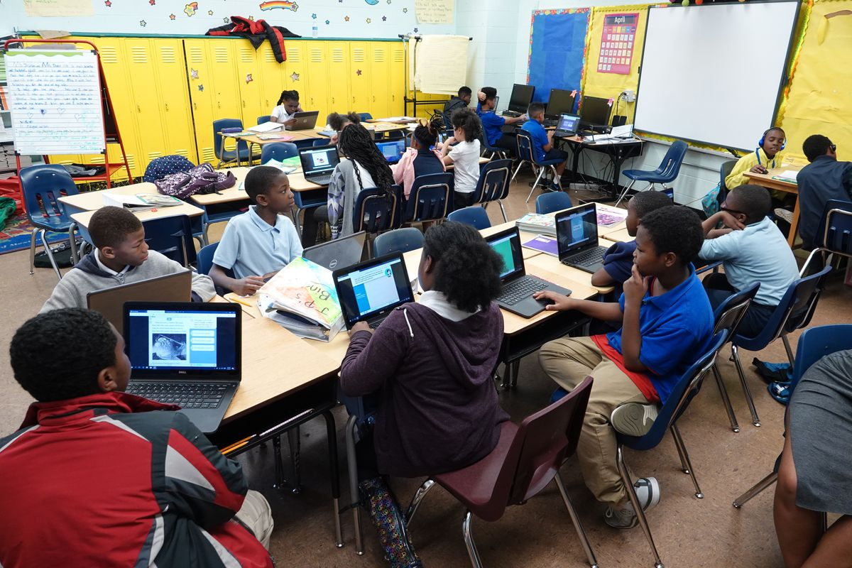 Students work on laptop computers in a classroom at Gardenview Elementary School in Memphis.