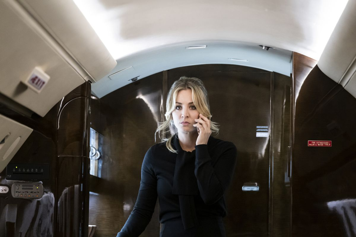Kaley Cuoco's Flight Attendant on her cell phone on a private plane