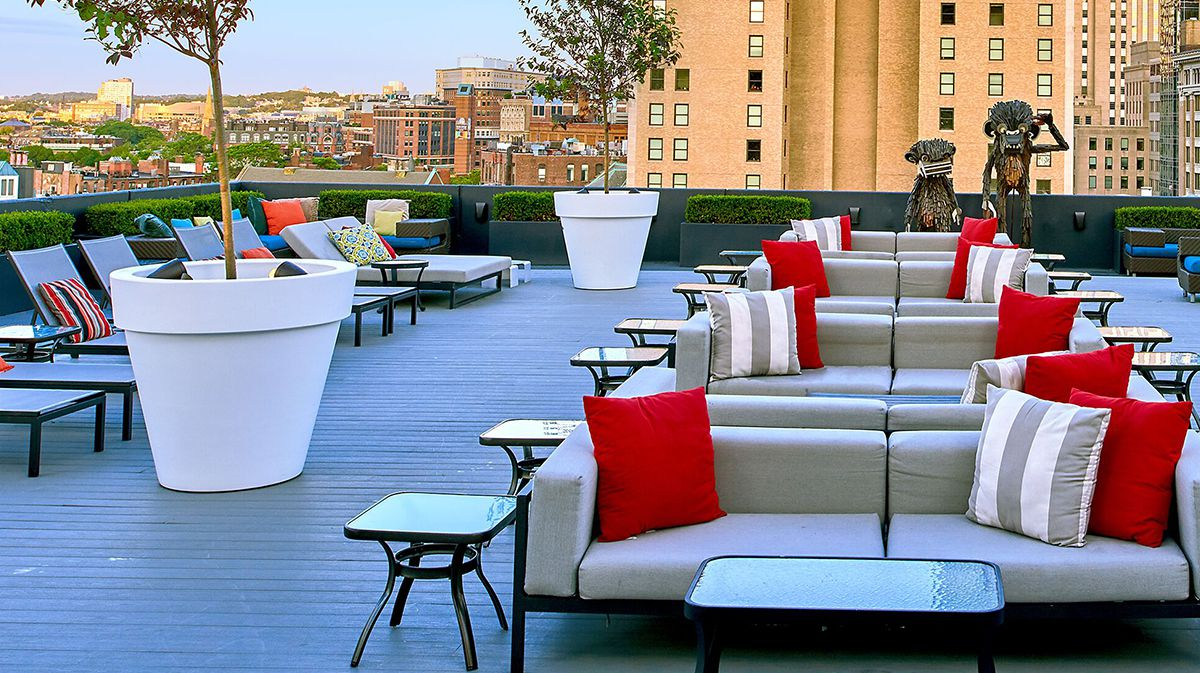 A hotel rooftop offers pool-style lounge seating and giant potted trees