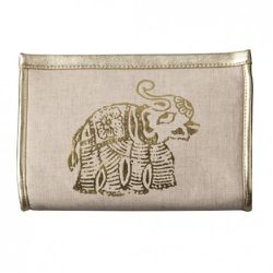 Mini Clutch in Natural Linen with Gold Elephant $12.99