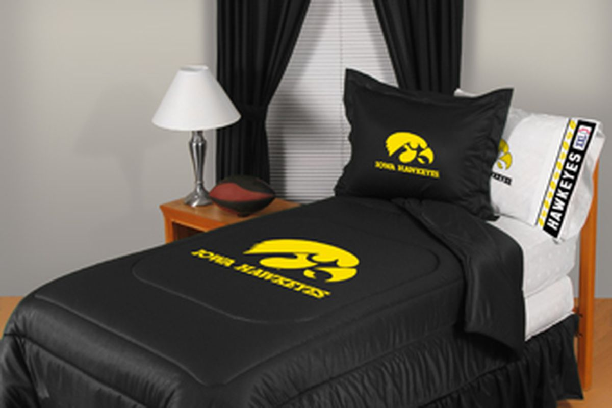 A warm and fuzzy night's sleep could be yours in this handsome Hawkeye bedding ensemble, available at the Coralville Wal-mart. Bed not included.