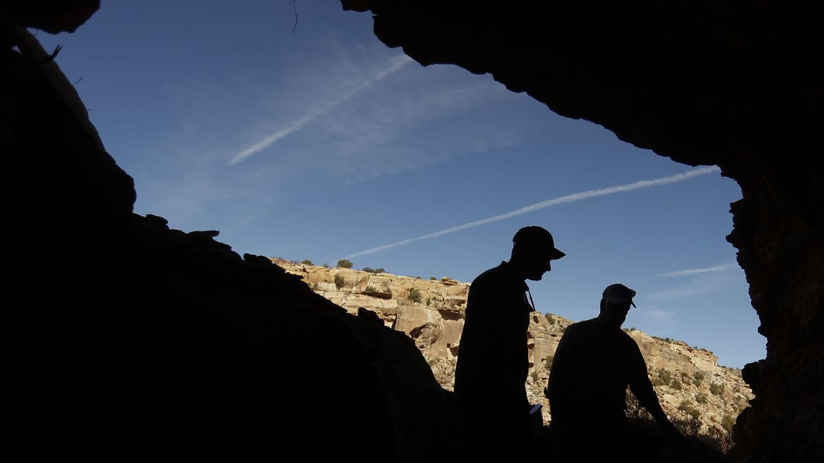 Nick and Dan Proctor survey their mining claim located in the Colt Mesa area of the former Grand Staircase-Escalante National Monument.