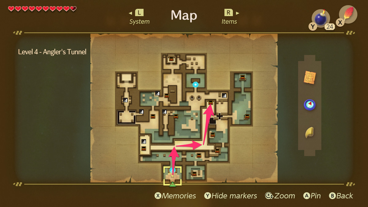 Link's Awakening Angler's Tunnel path to the Map