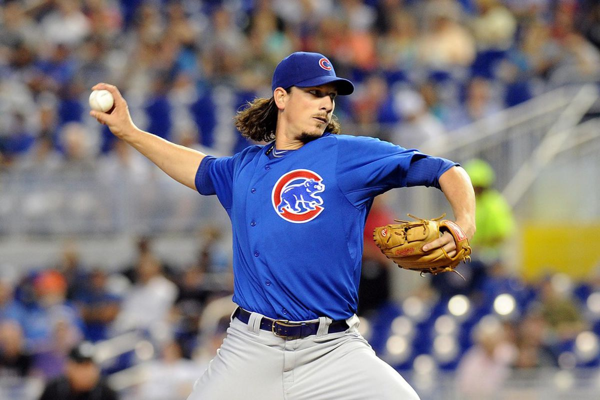 April 19, 2012; Miami, FL, USA; Chicago Cubs starting pitcher Jeff Samardzija (29) throws in the first inning against the Miami Marlins at Marlins Park. Mandatory Credit: Steve Mitchell-US PRESSWIRE
