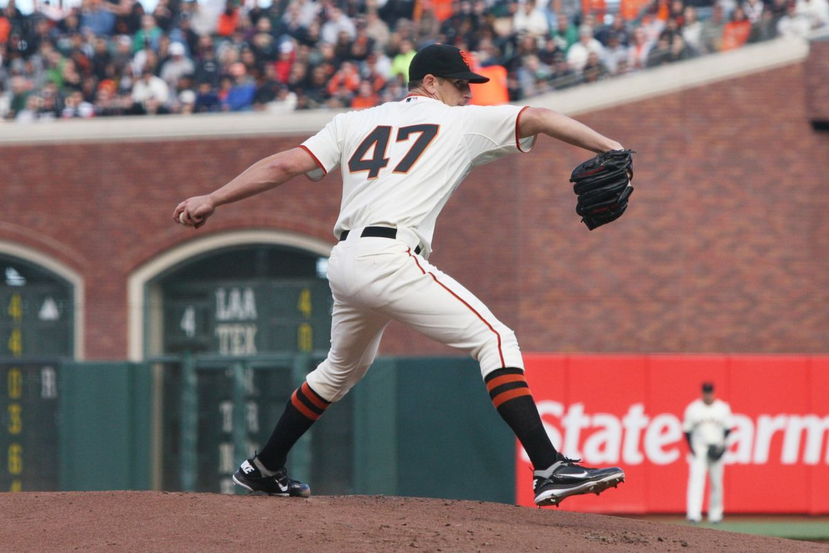 Eric Surkamp of the San Francisco Giants pitches against the Houston Astros at AT&T Park on August 27, 2011 in San Francisco, California.  (Photo by Tony Medina/Getty Images)