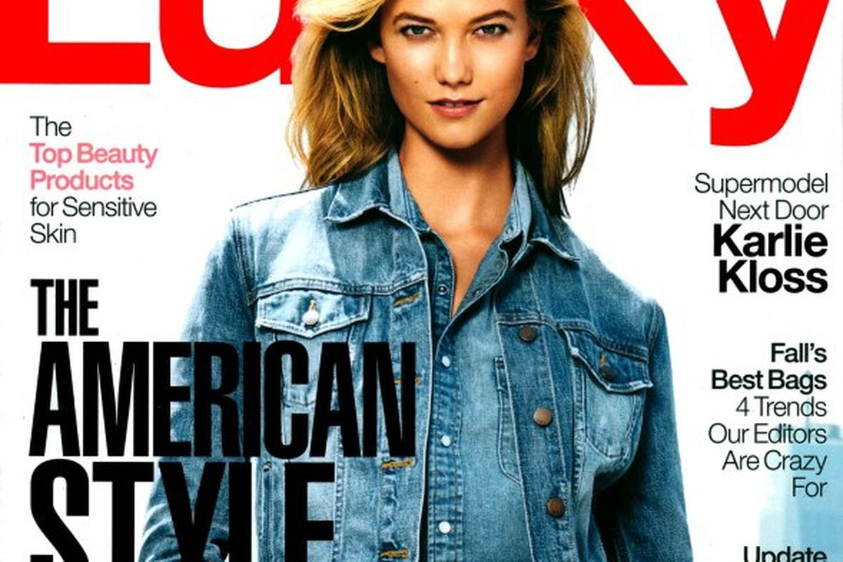 "Image via <a href=""http://fashionscansremastered.net/2014/09/13/karlie-kloss-lucky-magazine-october-2014/"">FSR</a>"