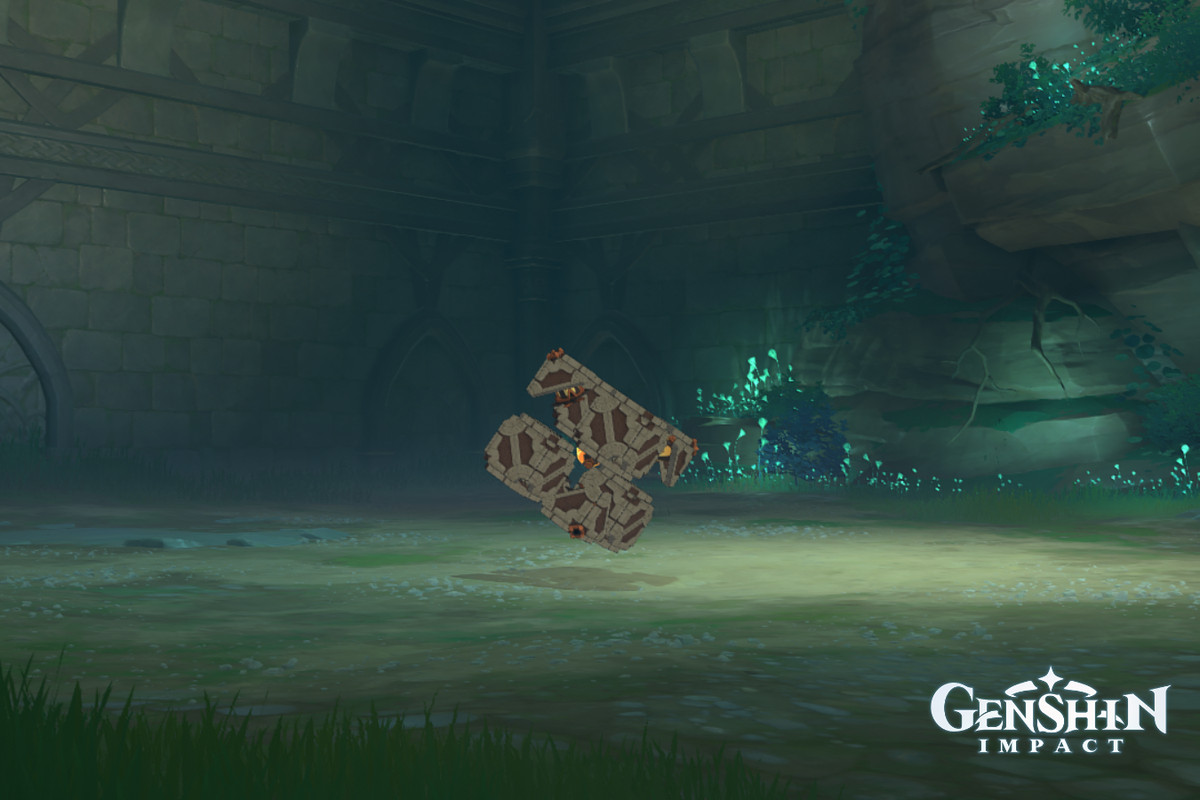 The Perpetual Mechanical Array boss stands dormant in a cave