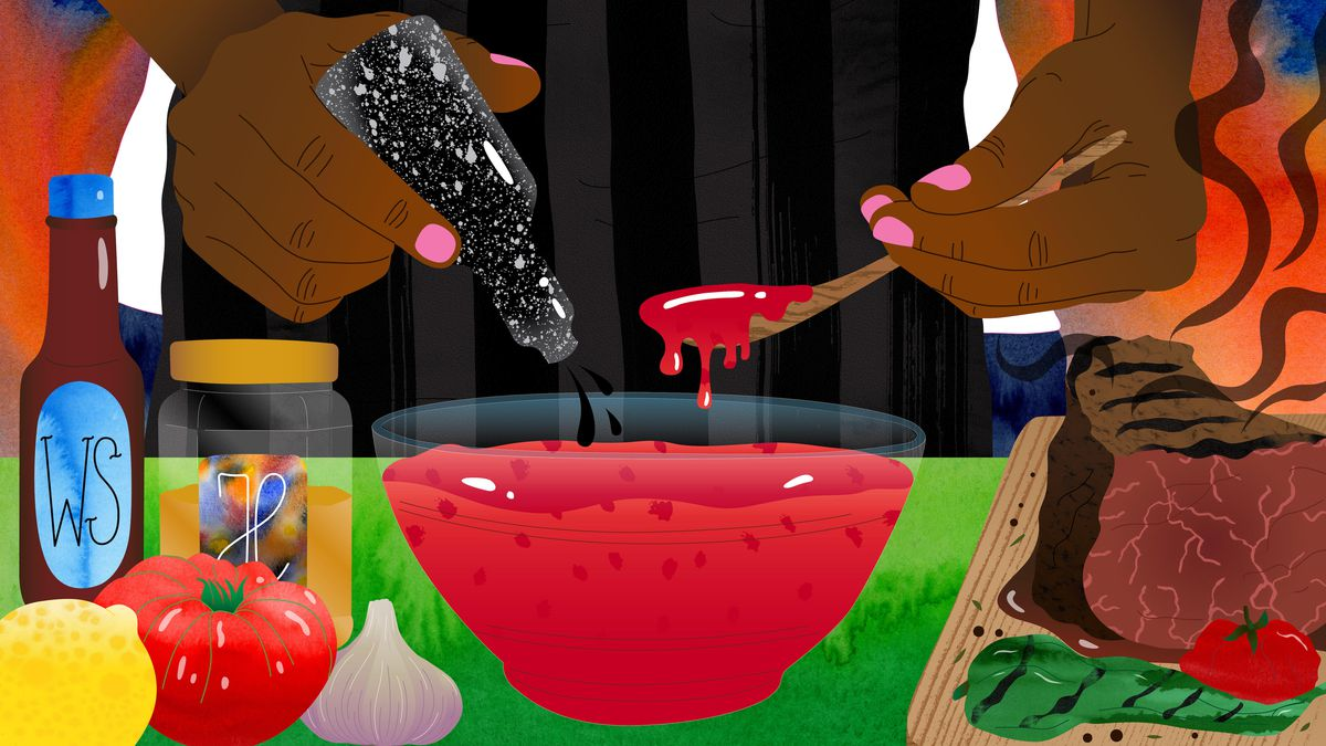 An illustration of a person making barbecue sauce