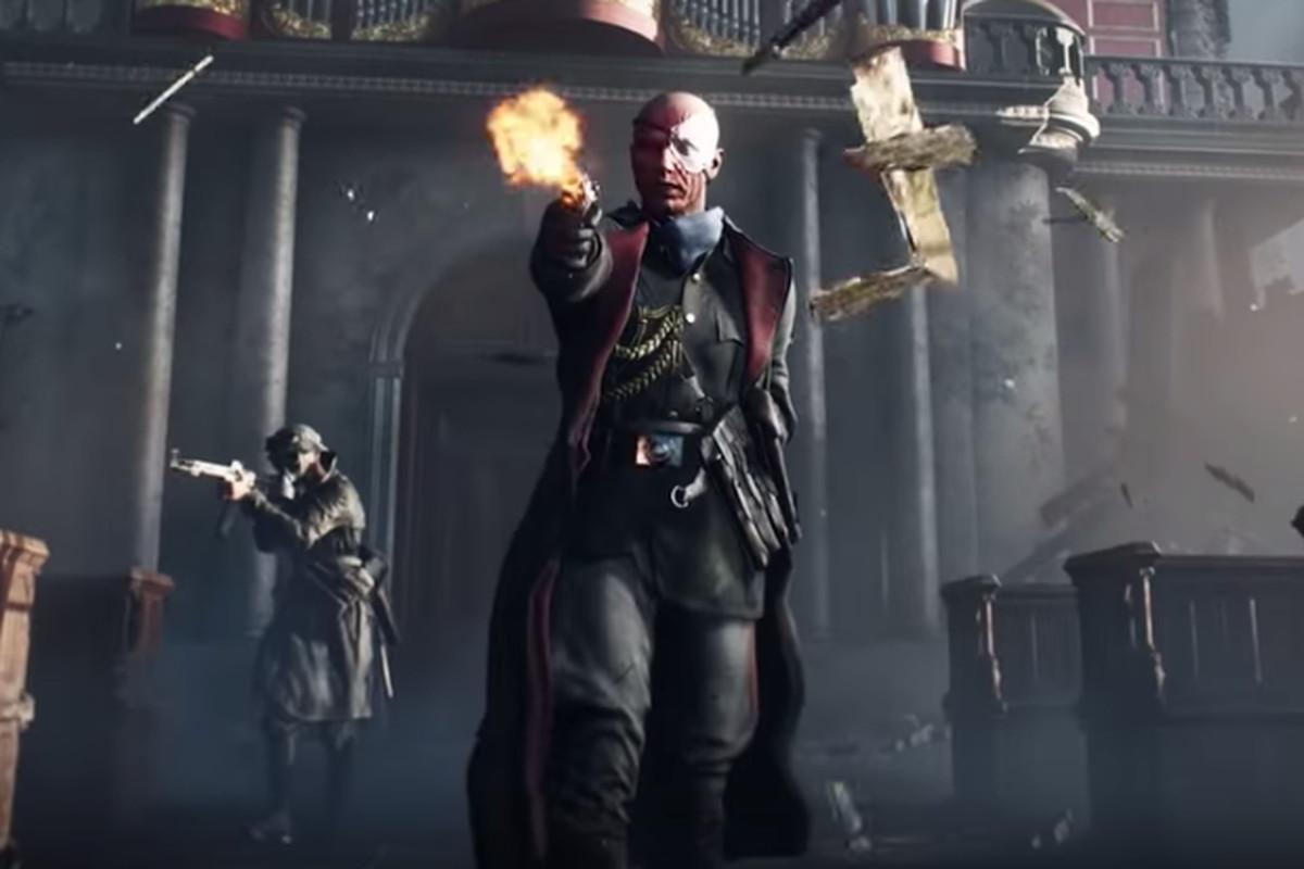 """Wilhelm Franke"" firing a luger pistol inside a demolished cathedral during a promotional video for Battlefield 5"