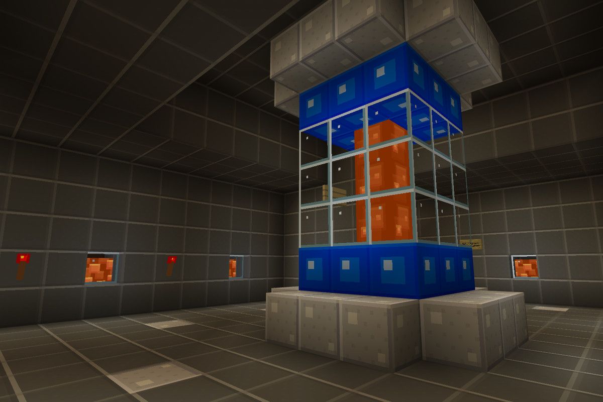Minecraft - an interior shot of a stone lair.
