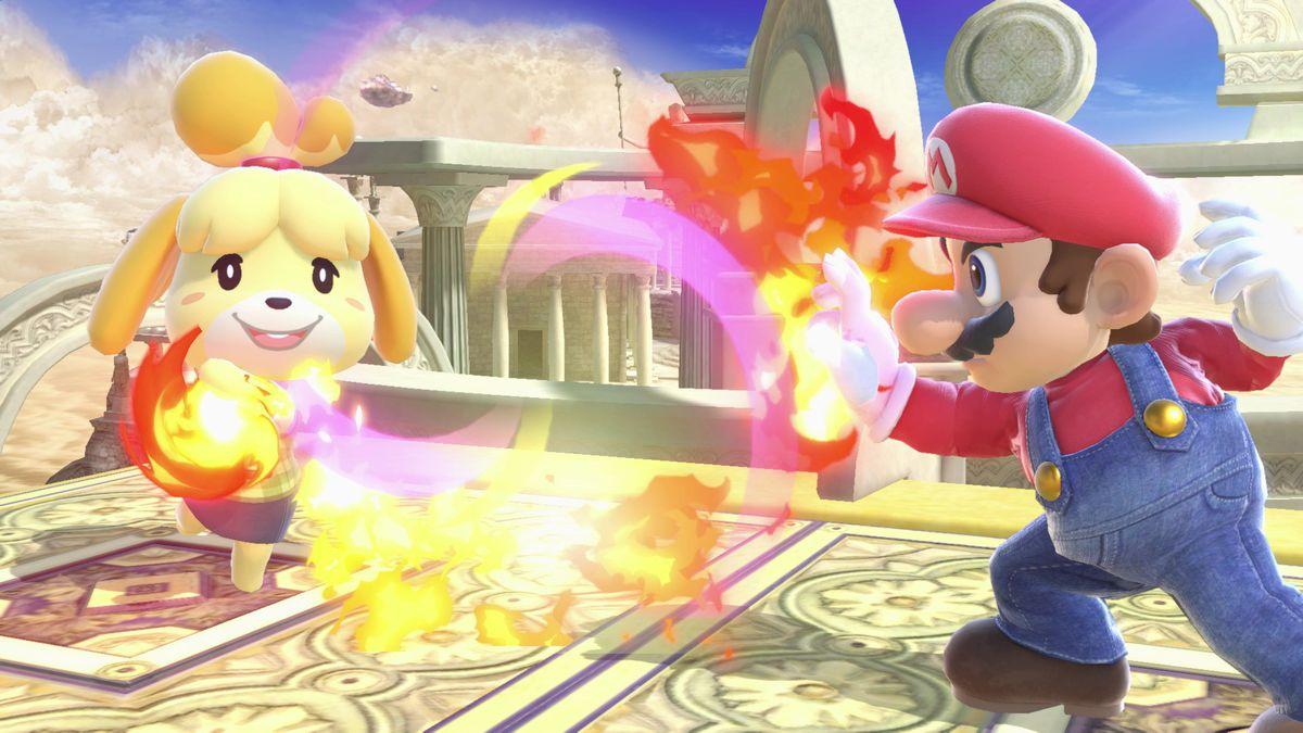 Super Smash Bros. Ultimate - Mario fighting Isabelle