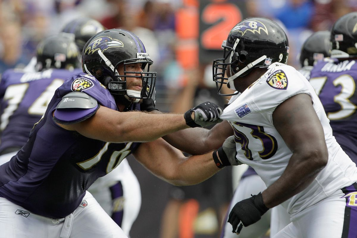 BALTIMORE, MD - AUGUST 06: Jah Reid #76 (L) of the Baltimore Ravens blocks Cory Redding #93 (R) during training camp at M&T Bank Stadium on August 6, 2011 in Baltimore, Maryland.  (Photo by Rob Carr/Getty Images)