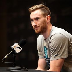 Utah Jazz forward Gordon Hayward talks to the media during the end of season press conference at the Zions Bank Basketball Center in Salt Lake City on Tuesday, May 9, 2017.