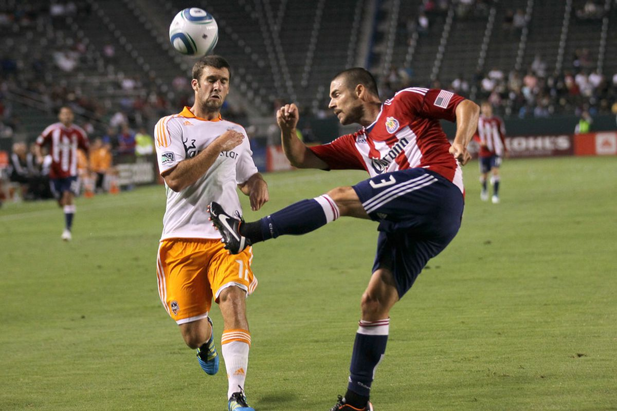 CARSON, CA - JULY 23:   Heath Pearce #3 of Chivas USA knows the secret. Do you?(Photo by Stephen Dunn/Getty Images)