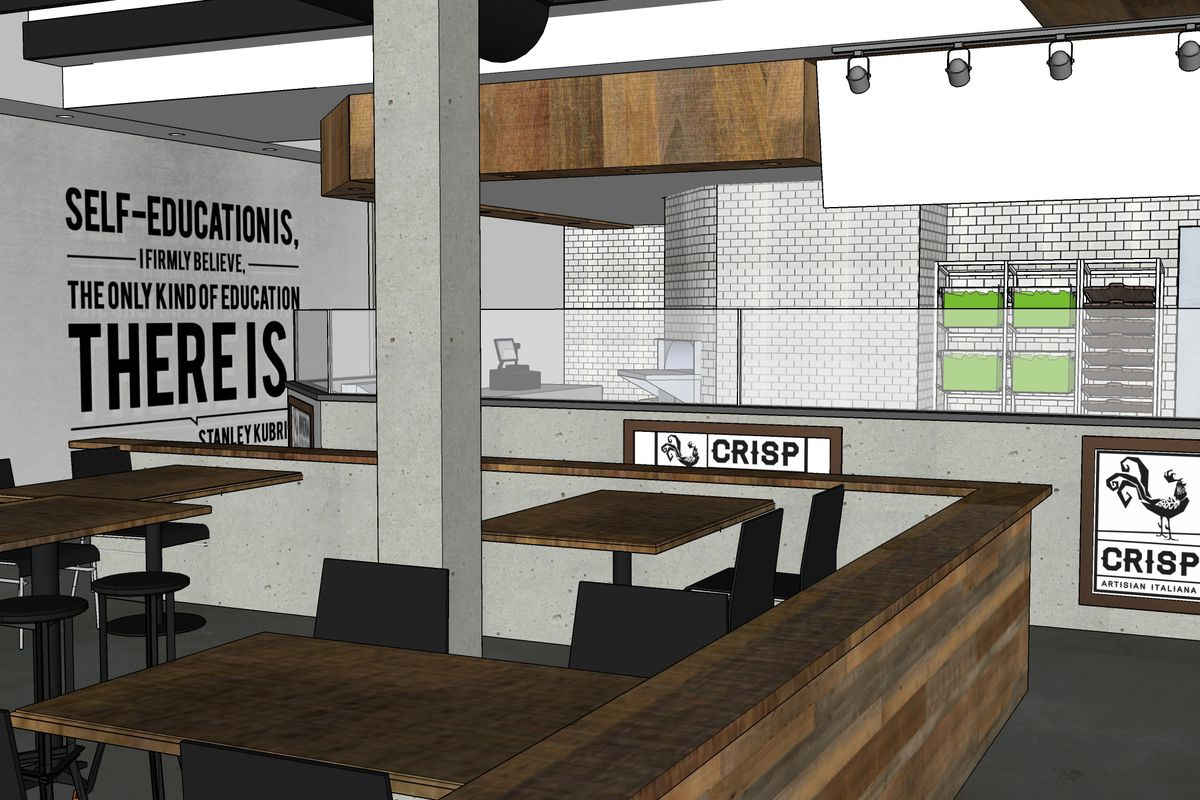 A rendering of Brera Pizza & Salad Co. in Dearborn.