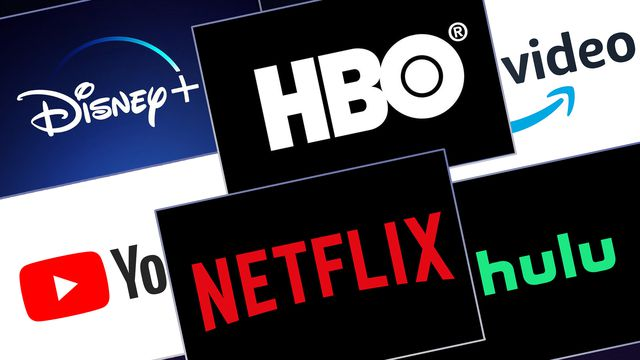 Grid featuring logos from Disney+, HBO, Amazon Prime Video, YouTube, Netflix and Hulu