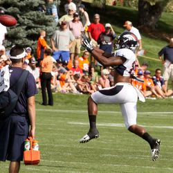 Denver Broncos wide receiver Demaryius Thomas goes up for the catch