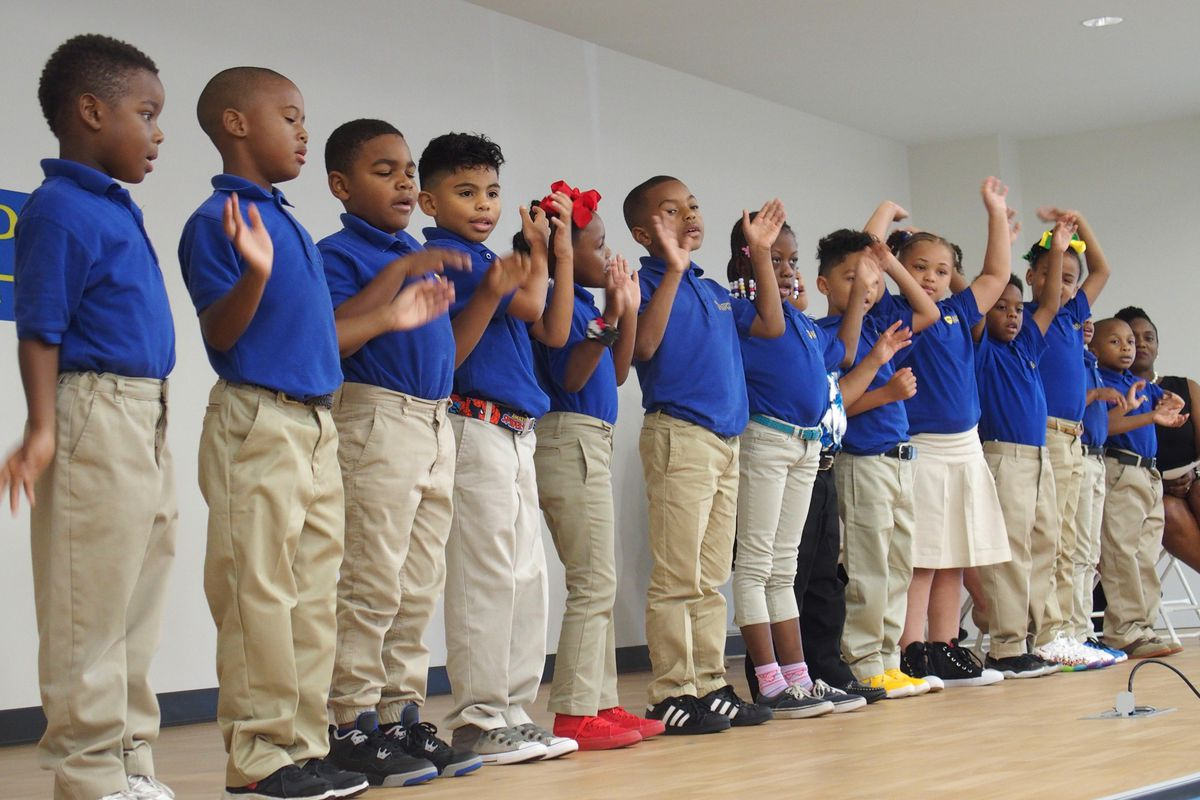 Students at the 2017 ribbon cutting for Aspire East Academy's new building in Memphis, one of six schools that are all black and Hispanic students.