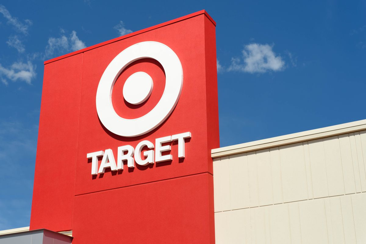 The exterior of a Target store, focusing on its sign.