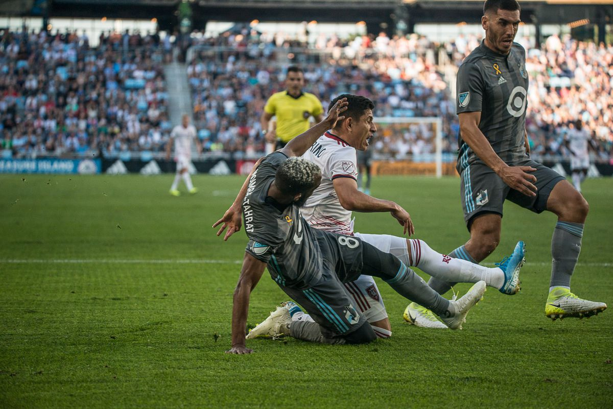 September 15, 2019 - Saint Paul, Minnesota, United States -  Moimbe Tahrat makes a tackle during an MLS match between Minnesota United and Real Salt Lake at Allianz Field