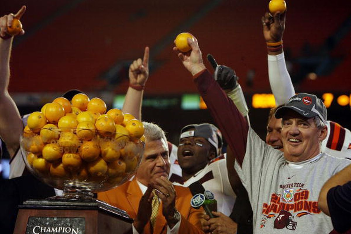 Head coach Frank Beamer of the Virginia Tech Hokies celebrates after defeating the Cincinnati Bearcats to win the FedEx Orange Bowl at Dolphin Stadium on January 1, 2009 in Miami, Florida.