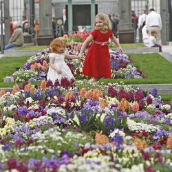 Flowers on Temple Square outside during The Church of Jesus Christ of Latter-day Saints' Saturday afternoon session of the 183rd Annual General Conference Saturday, April 6, 2013, in Salt Lake City.