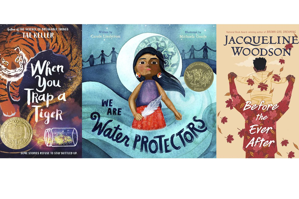 """This combination of cover images shows, from left, """"When You Trap a Tiger,"""" winner of the John Newbery Medal for the outstanding children's book overall of 2020; """"We Are Water Protectors,"""" written by Carol Lindstrom and illustrated by Michaela Goade, winner of the Randolph Caldecott Medal for best children's picture story; and """"Before the Ever After"""" by Jacqueline Woodson, who won her third Coretta Scott King Award for best work by a Black author."""