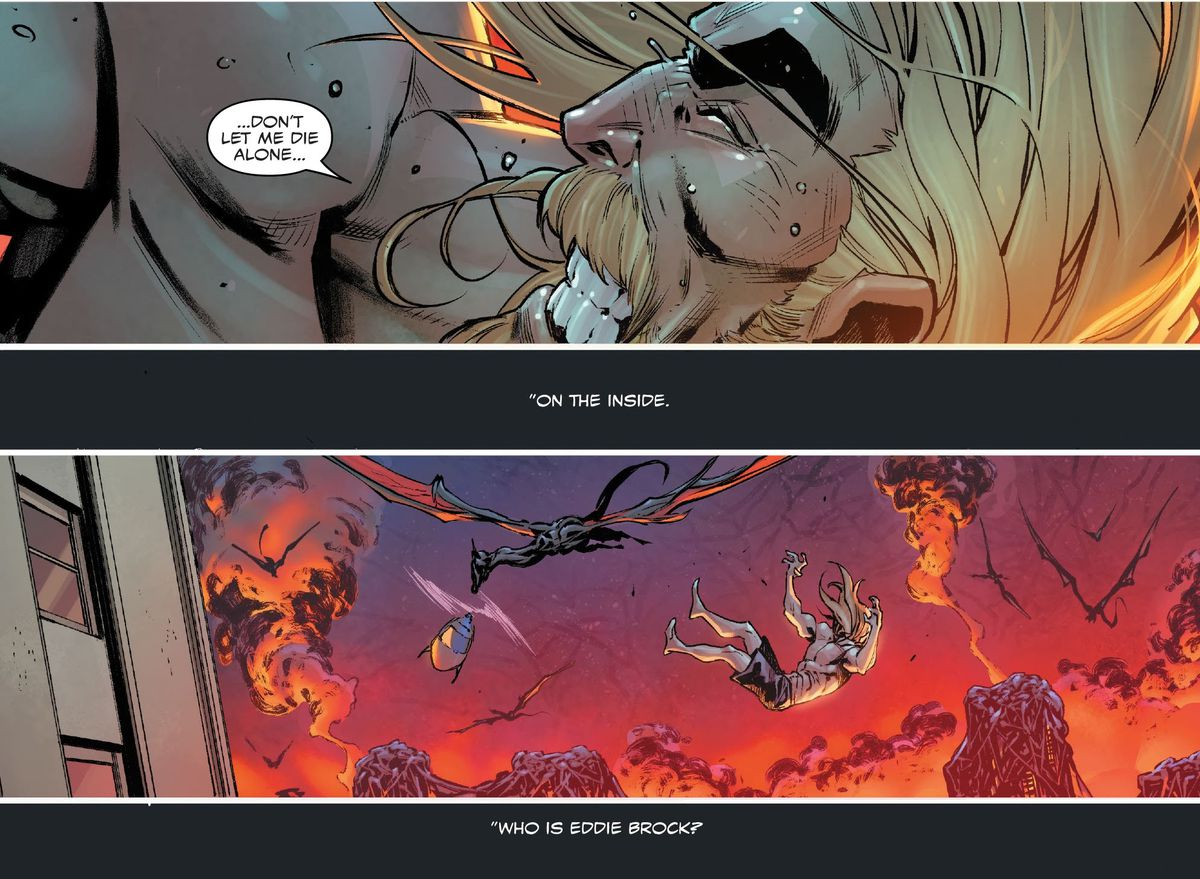 """""""Don't let me die alone,"""" begs a nearly naked Eddie Brock as he falls from a NYC skyscraper in Venom #31, Marvel Comics (2020)."""