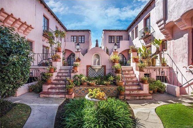 Pink courtyard complex