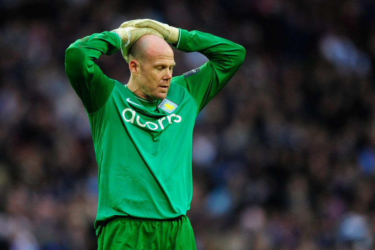 Brad Friedel reacts to <em>7500 to Holte's</em> request to use his head as a crystal ball. (Photo by Jamie McDonald/Getty Images)