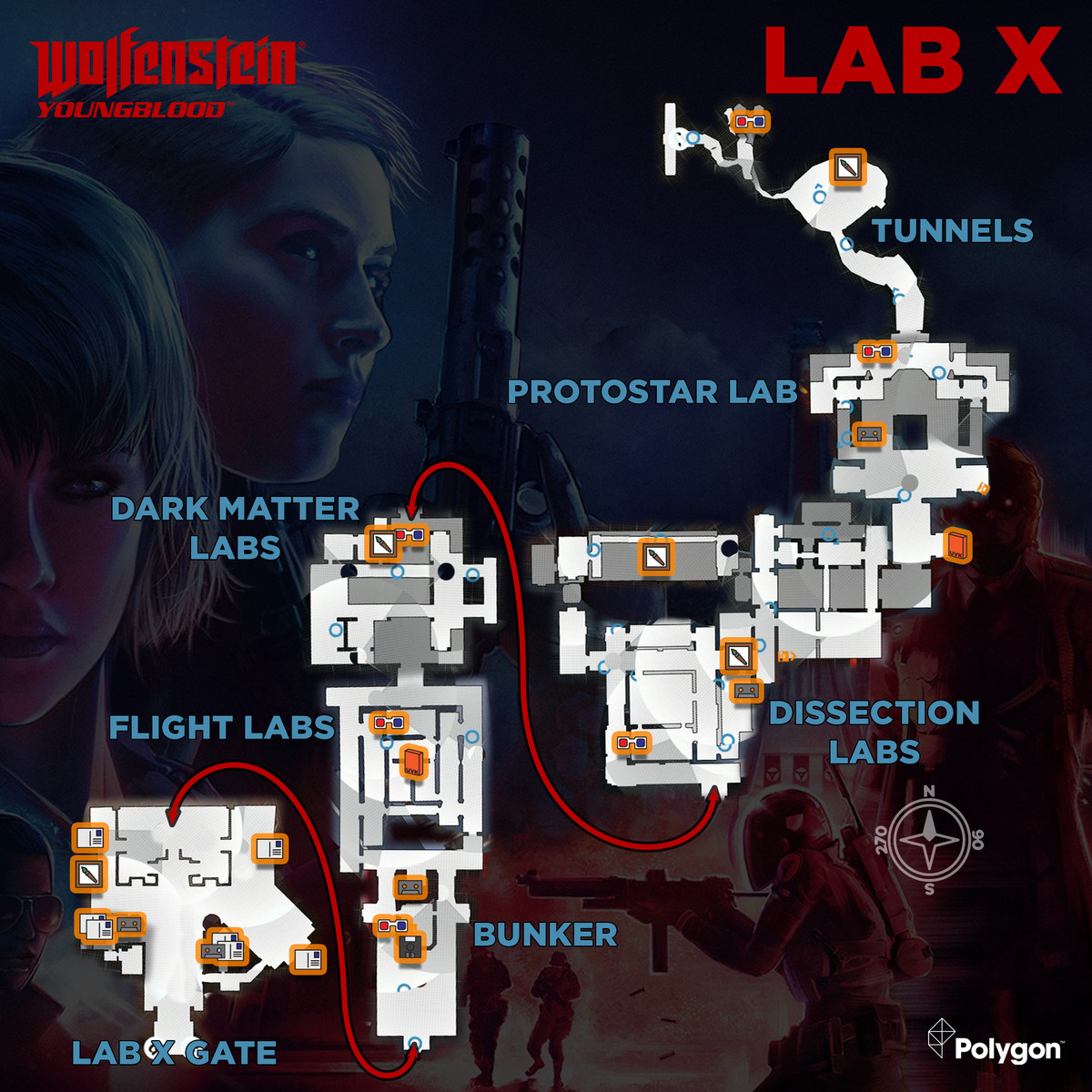 Wolfenstein: Youngblood Lab X map with collectible locations