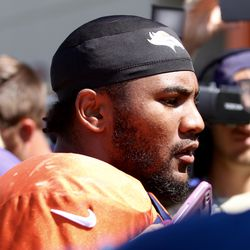 Broncos S T.J. Ward speaks with the media after the last training camp practice.