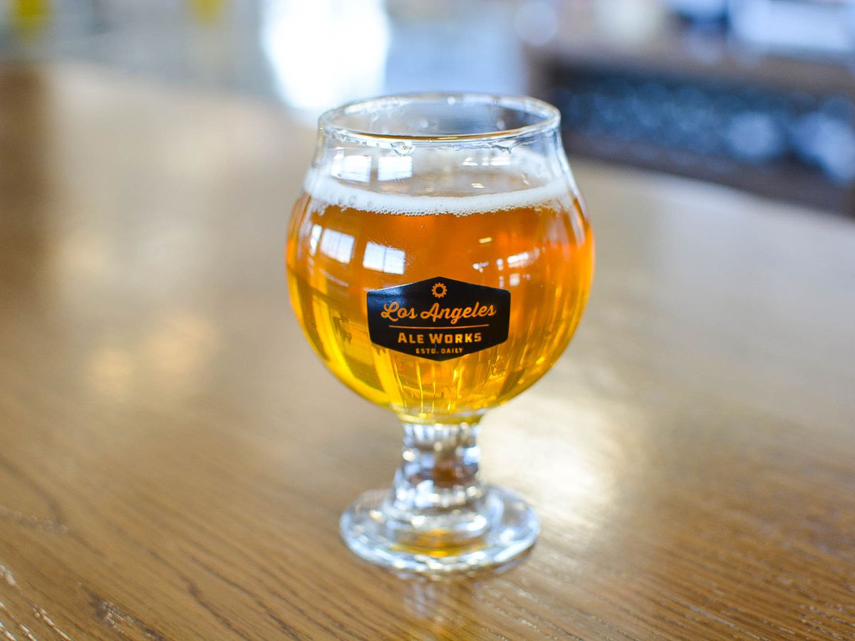 A small golden taster of beer from Los Angeles Ale Works.