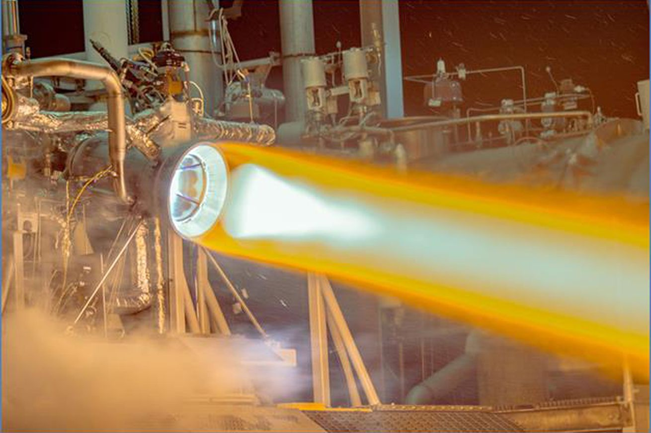 <em>Aerojet's RL10 engine during a hot-fire test</em>