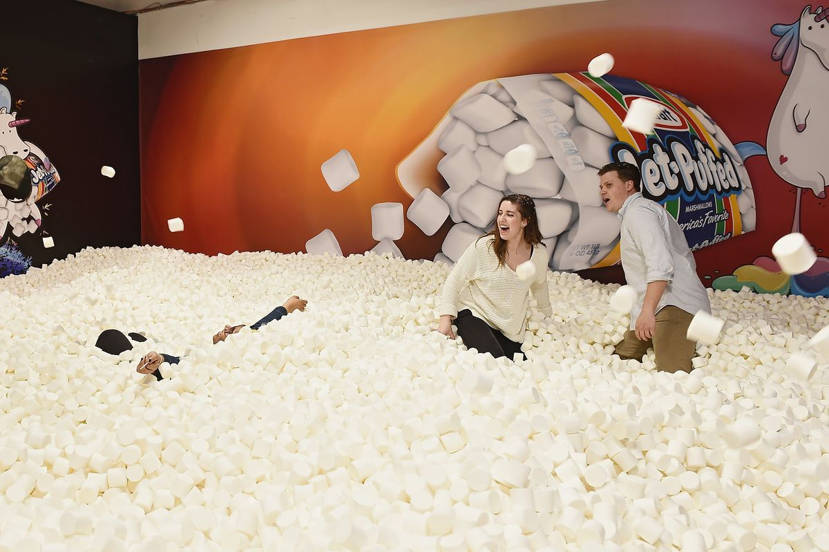 foam marshmallow pit with people in it