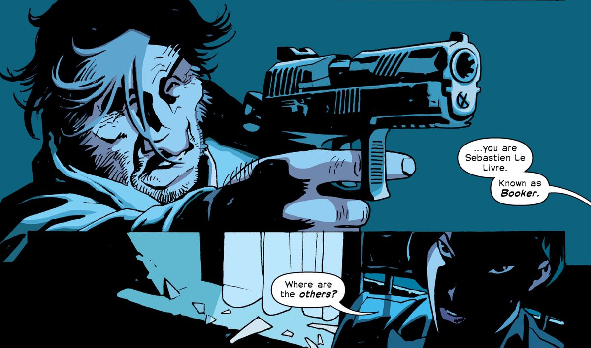 "Booker points a gun at Noriko in The Old Guard: Force Multiplied #1, Image Comics (2020). ""You are Sebastien Le Livre. Known as Booker,"" she says, ""Where are the others?"""