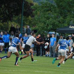"""Seen running here in a rugby match, West Point cadet Raaqim Rispress, a returned Mormon missionary, was recently honored with the Lt. Gen Harold """"Hal"""" G. Moore Warrior Athlete of Excellence Award."""