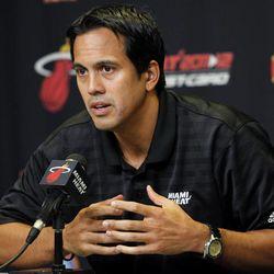 Miami Heat head basketball coach Erik Spoelstra speaks during the team's NBA media day in Miami, Friday, Sept. 28, 2012.