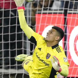 Real Salt Lake goalkeeper David Ochoa stops a shot during the second half of a Major League Soccer match against Los Angeles FC Saturday, July 17, 2021, in Los Angeles. LAFC won 2-1.