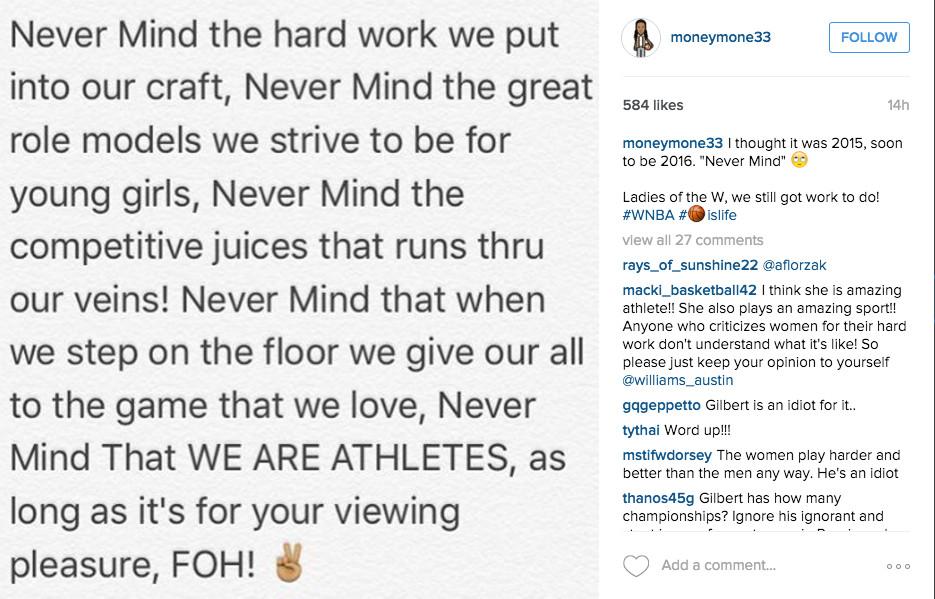 WNBA Player Seimone Augustus responds on Instagram