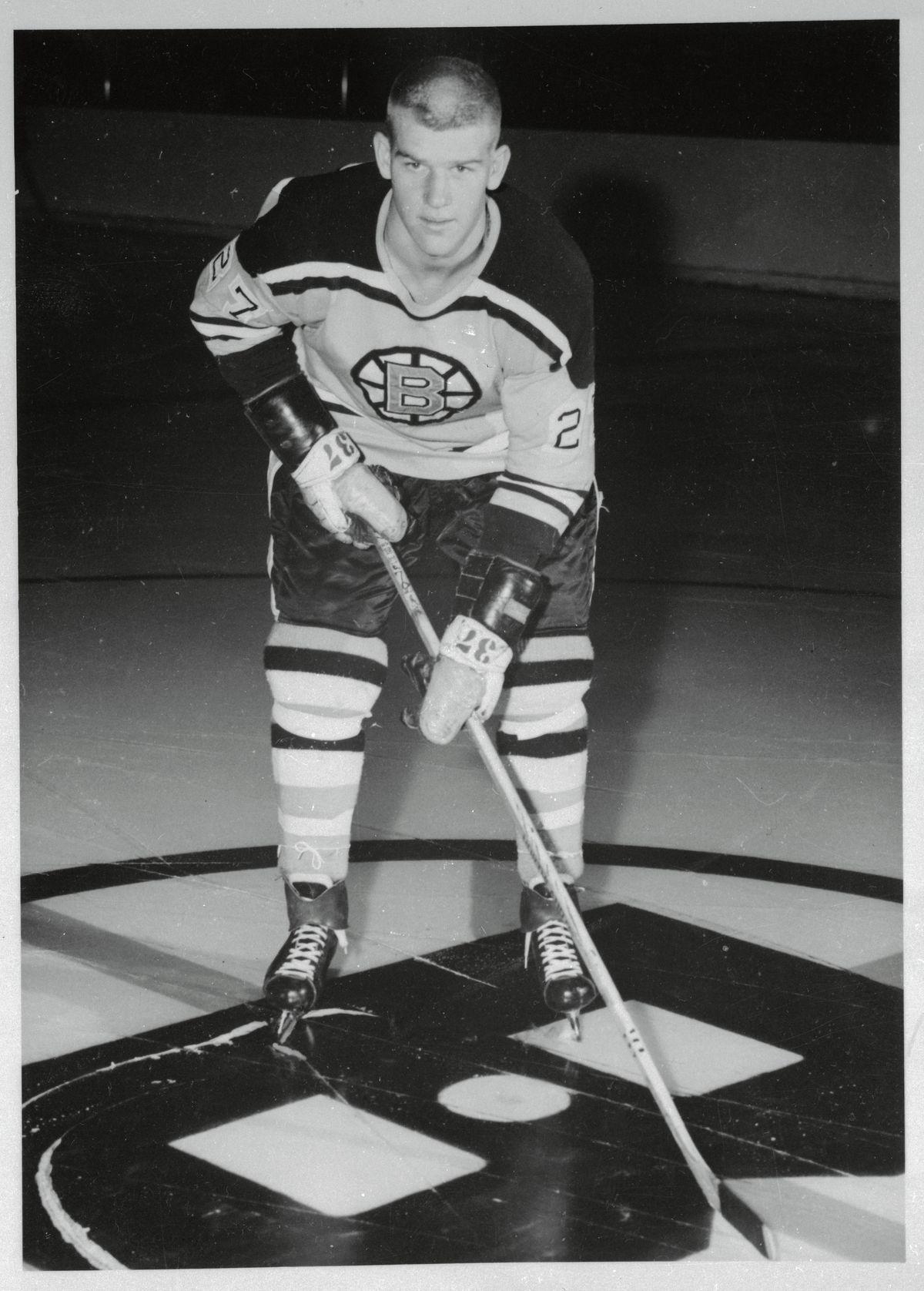 Bobby Orr Holding Hockey Stick in Position