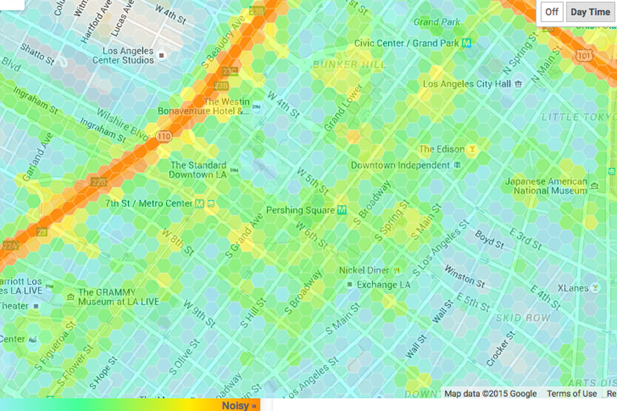 Mapping The Noise Levels At Every Point Around Los Angeles Curbed LA - Los angeles map by neighborhood