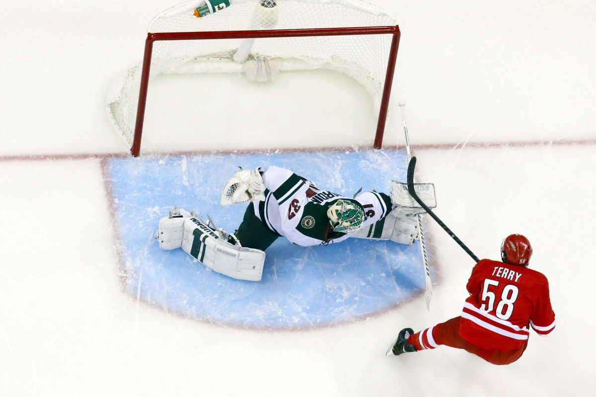 Chris Terry lights the lamp during shootout against Wild
