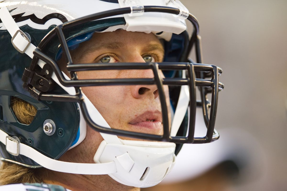 Aug 30, 2012; Philadelphia, PA, USA; Philadelphia Eagles quarterback Nick Foles (9) along the sidelines during the first quarter against the New York Jets at Lincoln Financial Field. Mandatory Credit: Howard Smith-US PRESSWIRE