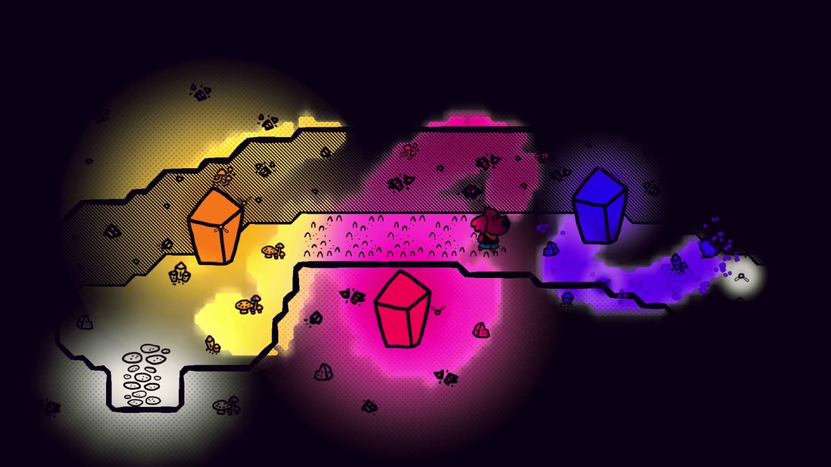 a dark scene with colorful blobs lighting up the cave