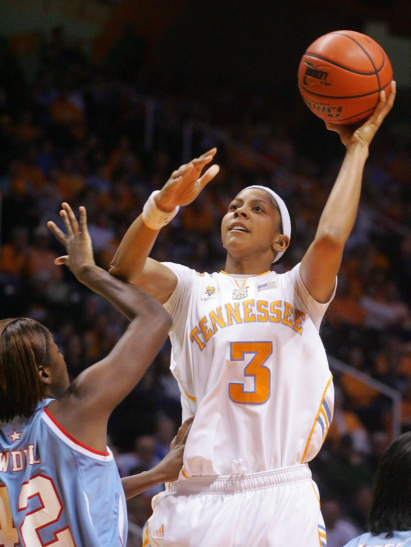 Tennessee's Candace Parker shoots over Louisiana Tech's Shanavia Dowdell during a game in 2007.