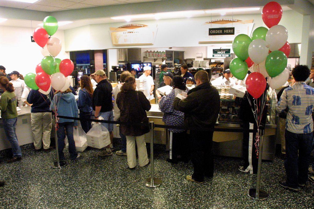 Krispy Kreme holds a grand opening.