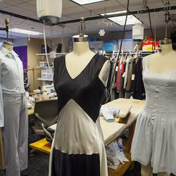 The costumes are sewn up in a fabric-strewn studio at the Joffrey Tower. The building is in the Loop.